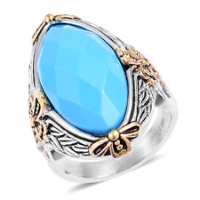 Vintage 14kyg and Rhodium Plated Faceted Turquoise Dragonfly Ring  TGW 25cts