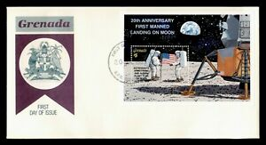 DR WHO 1989 GRENADA FDC SPACE 20TH ANNIV FIRST MANNED MOON LANDING S/S C236716