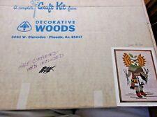 Owl Kachina 12x16 Craft Kit VTG Decorative Woods Frame Stamped Linen Yarn