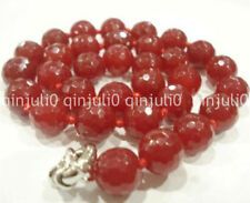 """HOO! 12mm Faceted Red Ruby Round Beads Necklace 18"""" JN1179"""
