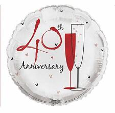 "18"" Ruby 40th Anniversary Foil Balloon Helium 40 Year Wedding Party Decoration"