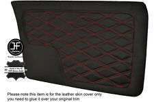 RED DIAMOND STITCHING 2X FRONT DOOR CARD LEATHER COVERS FITS BMW E30 SEDAN