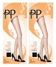 2x Packs Pretty Polly 15 Denier Knee Highs One Size Barely Black or Chiffon 3 Pk