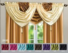Faux Silk Plain Voile Beaded Swag Curtain with Slot Top