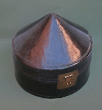 ANTIQUE CHINESE MANDARIN HAT BOX BLACK LACQUERED LEATHER - FRENCH  MARKET FIND