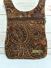 Isabella's Journey Paradise Palm Tapestry Crossbody Small Purse Bag Brown