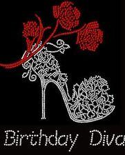 Birthday Diva Rhinestone Iron on Transfer        K1JV