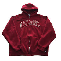 Vintage 90s Indiana University Hoodie Mens XL Zip College Spell Out Hoosiers Red