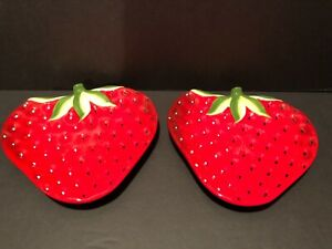 Pair Beautiful Pier One Imports Strawberry Dessert / Fruit Plates
