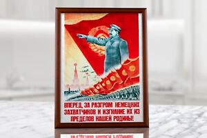Vintage Soviet Union Era Propaganda Poster with Stalin Communism Red Wall Decor