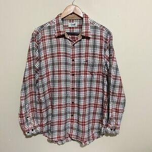 Crocodile Plaid Check Vintage 90's Button Long Sleeve Shirt Mens Large