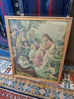 Antique ART DECO Wood Picture Frame Jesus Christ Print Rare Art 19.5x16 Vtg