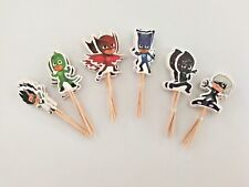 24 Pcs PJ MASKS CUPCAKE CAKE TOPPERS Party Supplies Lolly Loot Bags Decoration