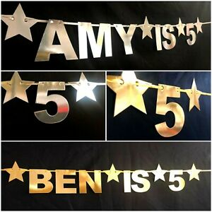 GOLD Happy Birthday Bunting Banner Decoration 16th 18th 1st First personalised