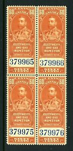 CANADA Revenue FEG2 - NH - BLK of 4 - 60¢ Electricity & Gas Inspection (.009)