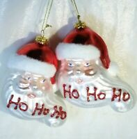 Mercury Glass Santa Claus Head Christmas Tree Ornament Bundle Set of 2