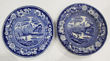 2 Blue and White Transfer Pottery New Rose Pattern Plates  SB&S + Crown 1820-40