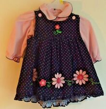 Sophie Rose 6/9 mos. navy/pink 2 pc polka-dot jumper and top 100% cotton EUC