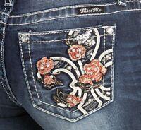 NEW MISS ME WOMEN'S D874 ROSE FLEUR DE LIS EMBROIDERED STITCH SKINNY PANTS JEANS