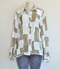 Erin Wasson X RVCA Women's Patchwork Button Down Shirt – Ivory/Khaki sz XS