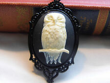 VINTAGE  #JR757NC COSTUME COSPLAY OWL SPOOKY Necklace rockabilly CAMEO unique