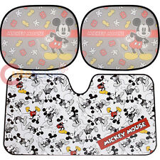 Disney Mickey Mouse Windshield  Rare Window Sun Shade 3pc Set Auto Accessories