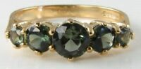 CLASSIC 9K 9CT GOLD GREEN TOURMALINE ETERNITY VINTAGE INS RING FREE RESIZE