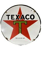 "ORIGINAL LARGE VINTAGE ""TEXACO""  15 INCH HEAVY GAS & OIL PORCELAIN DEALER SIGN"