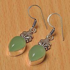 Pendientes de superposición de plata 925 Joyas-Verde Calcedonia - 25mm Altura-EAR-A140