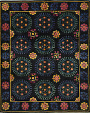 Hand-Knotted Suzani Design Rug, 8' x 10', Black, All wool pile