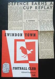 SWINDON TOWN v WEST HAM UNITED - 1963/64 - League Cup 4th Round + Report