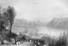 SWITZERLAND Lausanne & Alps - 1861 Engraving Antique Print