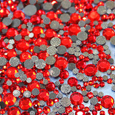 Assortiment strass ROUGE en verre hotfix s06 + s10 + s16 + s20 n°(125)