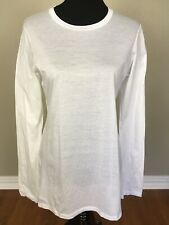 JIL SANDER ITALY NWOT Sz M 100% Cotton Crew Neck Long Sleeve T Shirt Top White