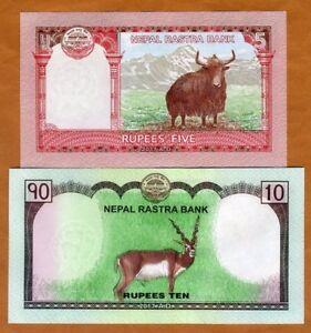 SET Nepal, 5;10 Rupees, 2017, P-76-77, UNC > Everest, Deer, Yak