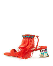NEW 1.3K Miu Miu by Prada Jeweled Feather Ankle 45mm Sandal Shoe Lacca/ Red