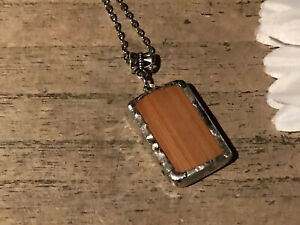Recycled Game Tiles Jewelry, Double Sided Wood Bamboo Mah Jongg Pendant