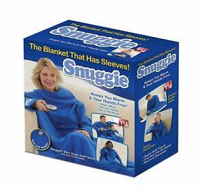 Snuggie BLUE Original TV Blanket Sleeves NOW w/ POCKETS fleece Adult 1-Size NEW!