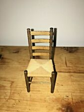 Vintage Dollhouse Miniature Ladder Back Chair with Woven Rush Seat