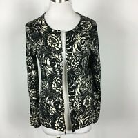 Talbots Petites Medium PM Cardigan Sweater Cream Black Floral Button Merino Wool