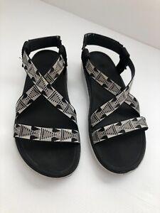 Teva Terra Float Livia Womens Sandal Black Cream Size 7.5 EU 38.5 S/N 1009807