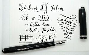 EXCELLENT Vintage Esterbrook LJ 9128 (double jewel) Black fountain pen. F FLEX