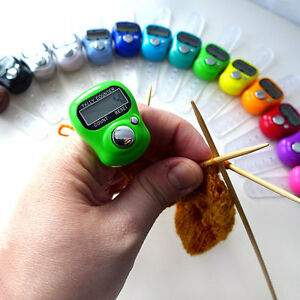 KNITTING/ CROCHET FINGER ROW COUNTER- TALLY DIGITAL- 16 GREAT COLORS!