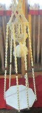 Vintage Huge 5.6 ft  Macrame Hanging wood Table Plant Stand Holder Nylon