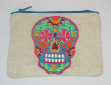 Sugar Skull Coin Purse Day of the Dead Blue Zipper Embroidered Pink New
