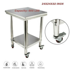 Stainless Steel Commercial Kitchen Prep Amp Work Table Cart With 4 Locking Wheels