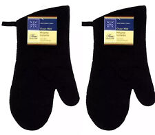 2 x Oven Mitt Glove Black Kitchen Heat Resistant
