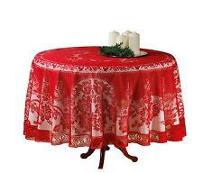 Edle Spitzen Tischdecke Ø 180cm rot Tisch Decke Tafel Tuch Tischläufer rund