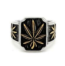 Steel Ring Jewelry Gift Size 7-13 Fashion Men's Punk Hip-hop Hemp Leaf Stainless