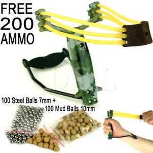 X Hunter Powerful Hunting Folding Slingshot Catapult High Velocity Free 200 Ammo
